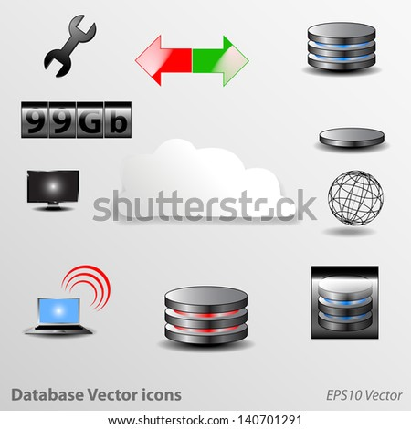 Database Icons Vector - stock vector