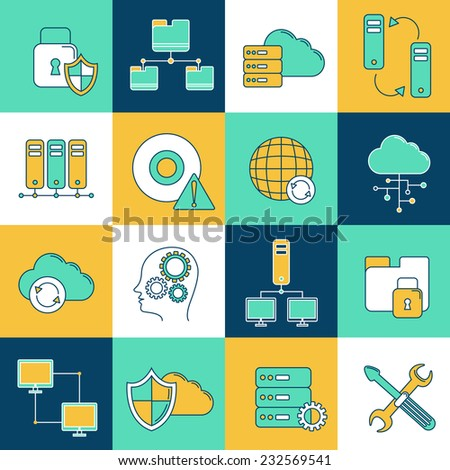 Database information network and server digital analytics icons set isolated vector illustration - stock vector