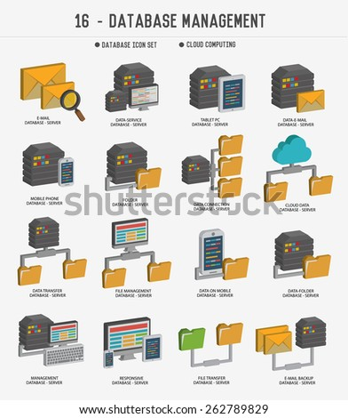 Database management,Data server  icons,clean vector - stock vector