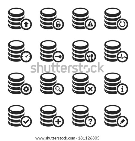 Database Management Icon Set - stock vector
