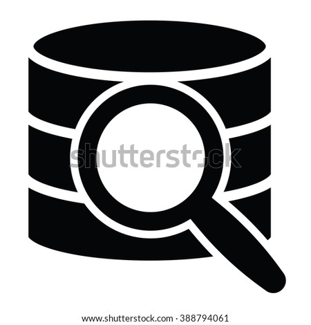 Database search Icon on the white background - stock vector