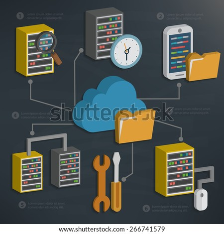 Database server and cloud computing,technology on blackboard background,clean vector - stock vector