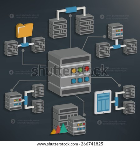 Database server and technology on blackboard background,clean vector - stock vector