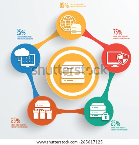 Database server info graphic design,clean vector - stock vector