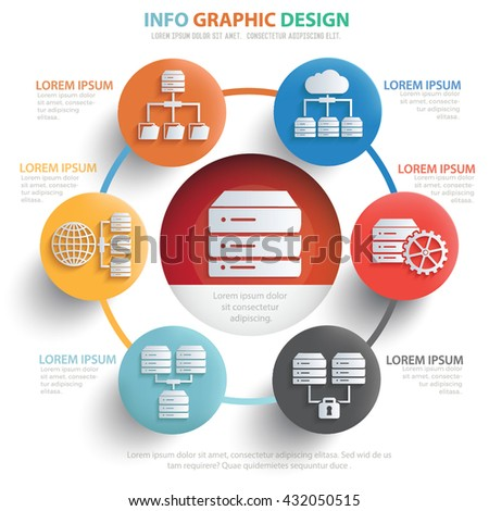 Database server info graphic design on clean background,vector - stock vector