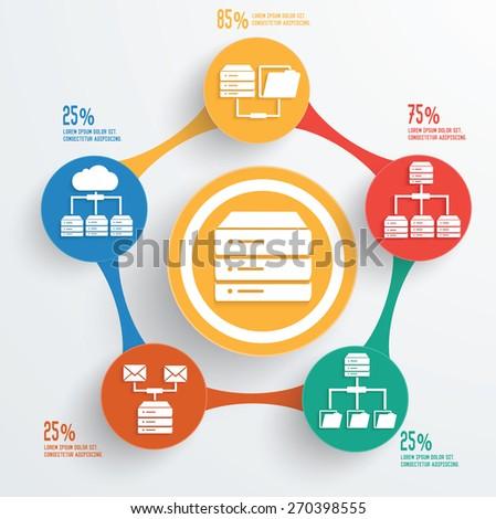 Database server, technology info graphic design - stock vector