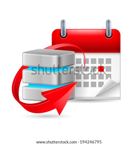 Database sign with update symbol and calendar with marked day - stock vector