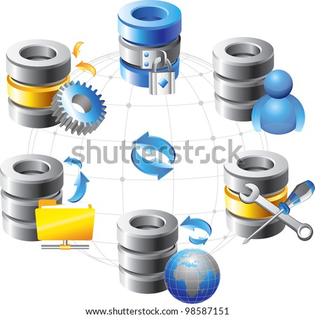Database - Web Hosting Icons - stock vector