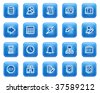 Database web icons, blue square buttons with dots - stock photo