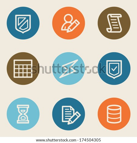Database web icons, color circle buttons - stock vector