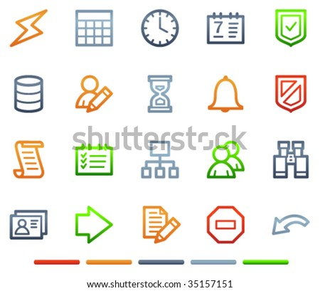 Database web icons, colour symbols series - stock vector