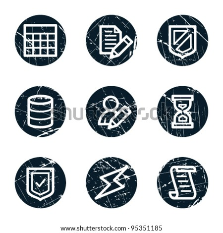Database web icons, grunge circle buttons - stock vector