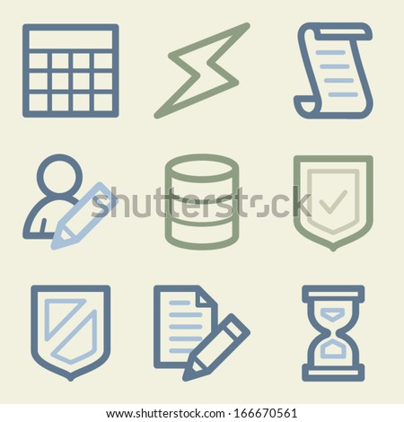 Database web icons, money color set - stock vector