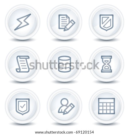 Database web icons, white glossy circle buttons - stock vector