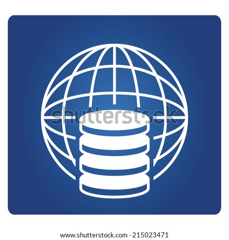 database with globe - stock vector