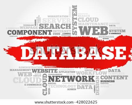 Database word cloud concept - stock vector
