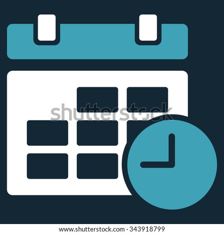 Date And Time vector icon. Style is bicolor flat symbol, blue and white colors, rounded angles, dark blue background. - stock vector