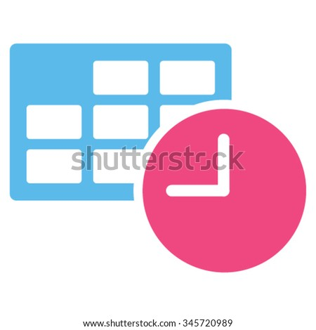 Date And Time vector icon. Style is bicolor flat symbol, pink and blue colors, rounded angles, white background. - stock vector