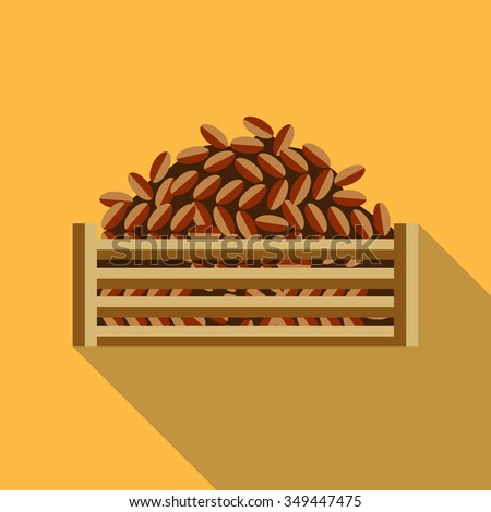 Dates fruit. Arabic food. Yellow background. Flat style. - stock vector
