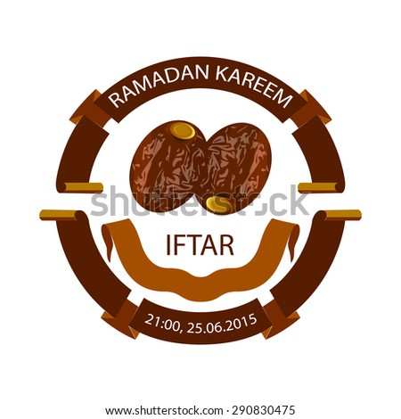 Dates isolated for ramadan kareem, with ribbons. Vector Illustration - stock vector