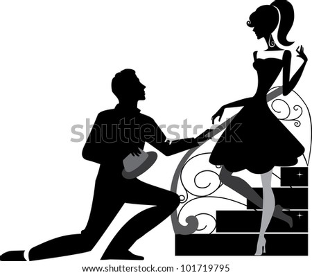dating a girl and a man at the stairs - stock vector