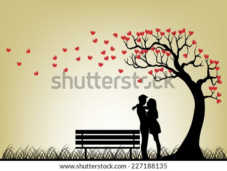 Dating Couple Silhouette Under Love Tree - stock vector