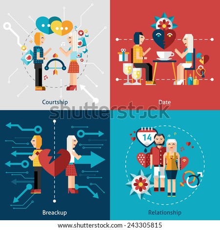 Dating flat icon set with courtship relationship breakup isolated vector illustration - stock vector