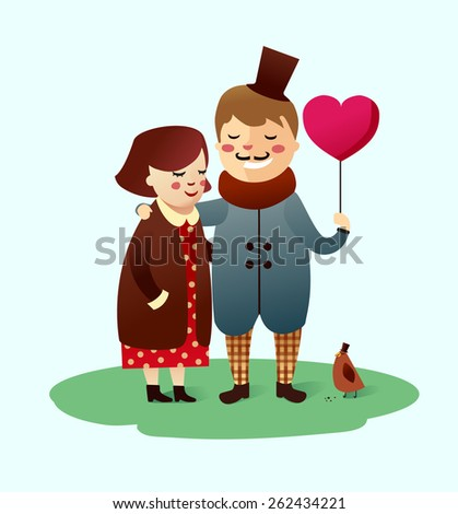 Dating for cute retro couple with a heart balloon and a little bird. Love. Vector illustration. Character design. St. valentine's day - stock vector