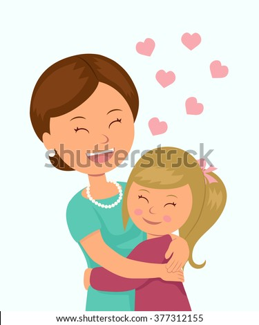 Daughter hugging her mother. Isolated characters in the embrace of a mother and her daughter on a white background.  - stock vector