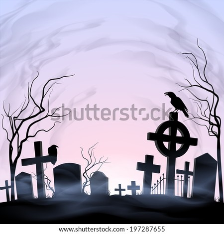 Dawn on the graveyard. Fog and clouds. Birds. - stock vector