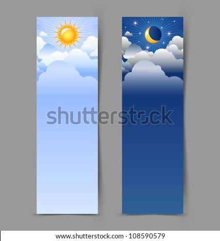 Day and night banners isolated on grey background - stock vector