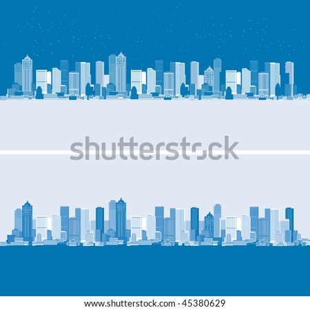 Day and night. Cityscape background, urban art - stock vector
