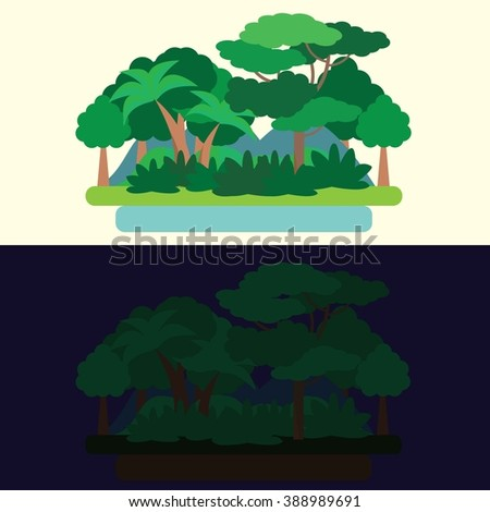 Day and night Forest Green Landscape, nature. Flat vector illustration
