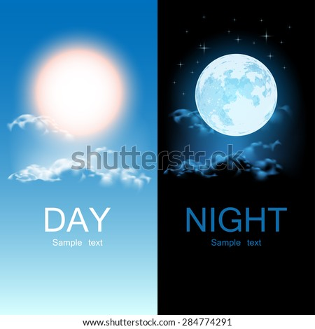 Day and night illustration - stock vector