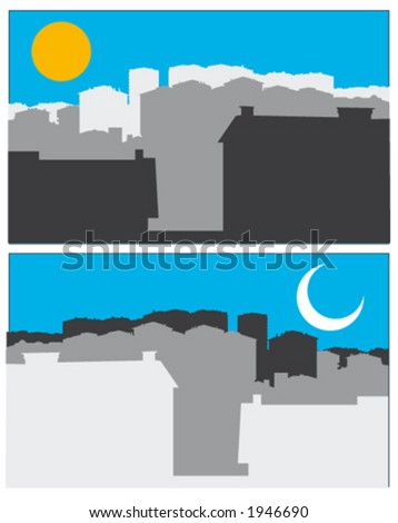 day and night of houses - stock vector