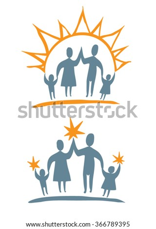 Day and night the family. Vector design template.