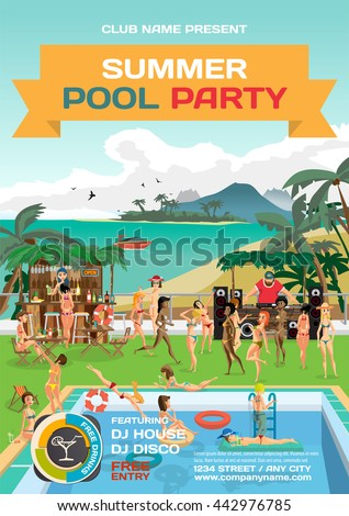 Day beach, swimming pool, bar, dj with sound system, crowd women in bikinis. Vector template beach summer party poster.