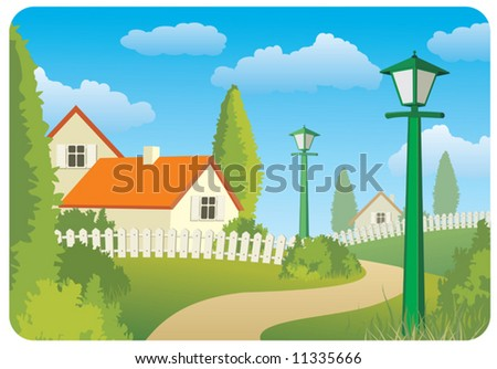 Day countryside landscape - stock vector