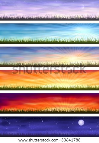 Day cycle - set of six colorful banners showing same landscape at different times of the day (other images from this series are in my gallery)