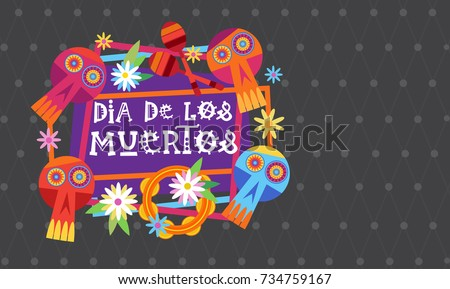 Day Dead Traditional Mexican Halloween Dia Stock Vector 734759167 ...
