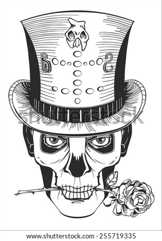 day of the dead, baron samedi drawing, vector - stock vector