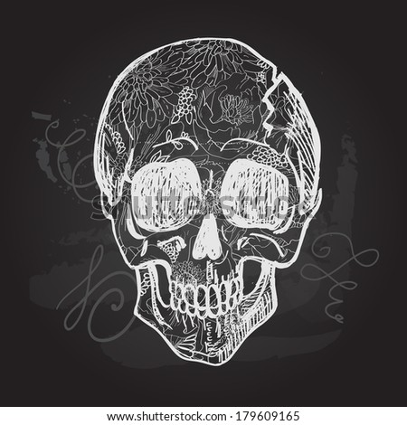 Day of The Dead black and white Skull, vector sketchy illustration