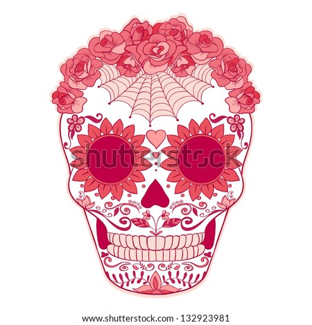 Day of The Dead colorful Pink Skull with floral ornament - stock vector