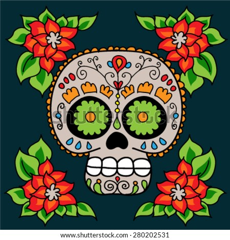 Day of The Dead colorful Sugar Skull with floral ornament. Mexican vector art. - stock vector