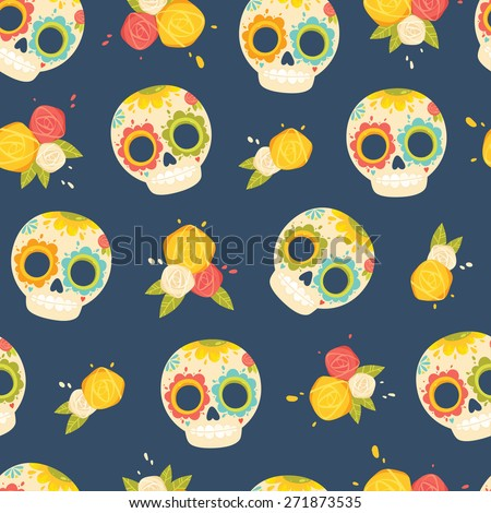 Day of the dead colorful vector pattern. Seamless background with mexican sugar skulls and flowers. - stock vector