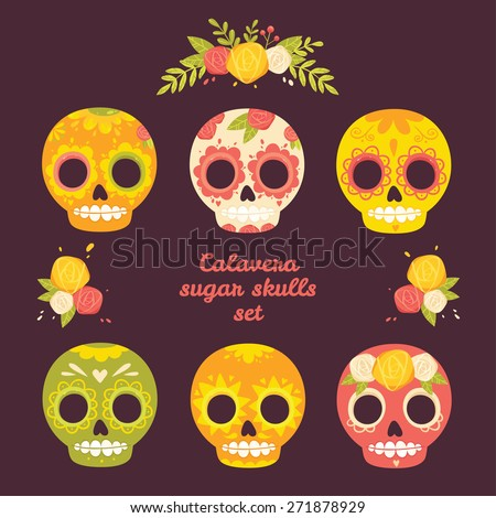 Day of the dead colorful vector set of skulls. Mexican sugar skulls and flowers. Calavera set. - stock vector