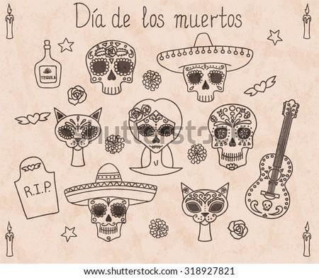 Day of the dead (Dia de los muertos) doodle set. Eps10. - stock vector