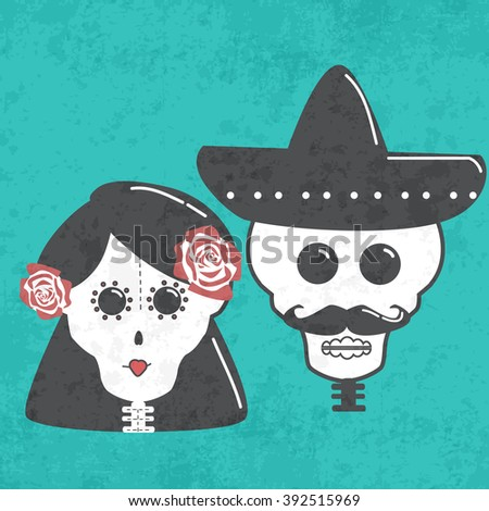 Day of the Dead (Dia de los Muertos). The skeleton wife and husband vector illustration. Mexico set with mexican family skulls on wedding    - stock vector