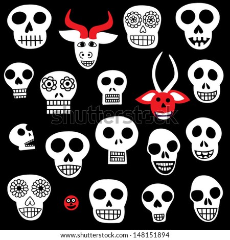 Day Of The Dead Mexican Folk Art Halloween Mask Skull Isolated Vector Collection