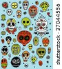 Day of the Dead pattern - stock vector